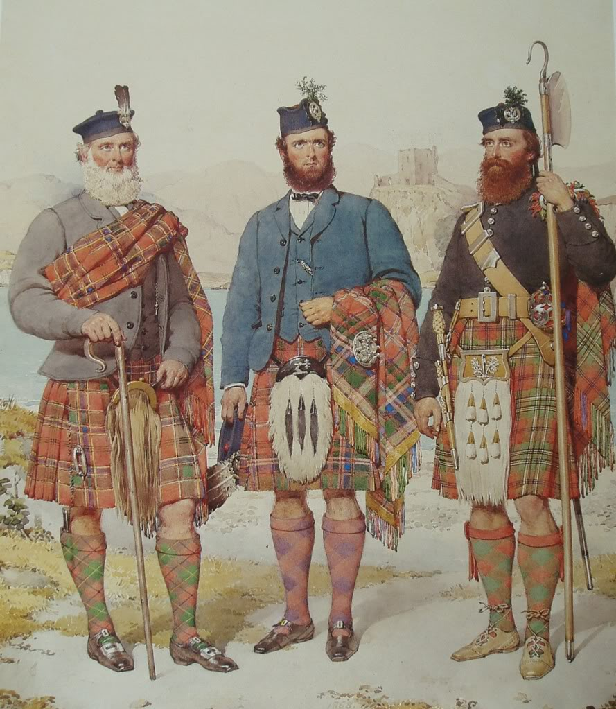 Munro, MacDougall and MacLean. Highlanders of Scotland by Kenneth Macleay (1870)